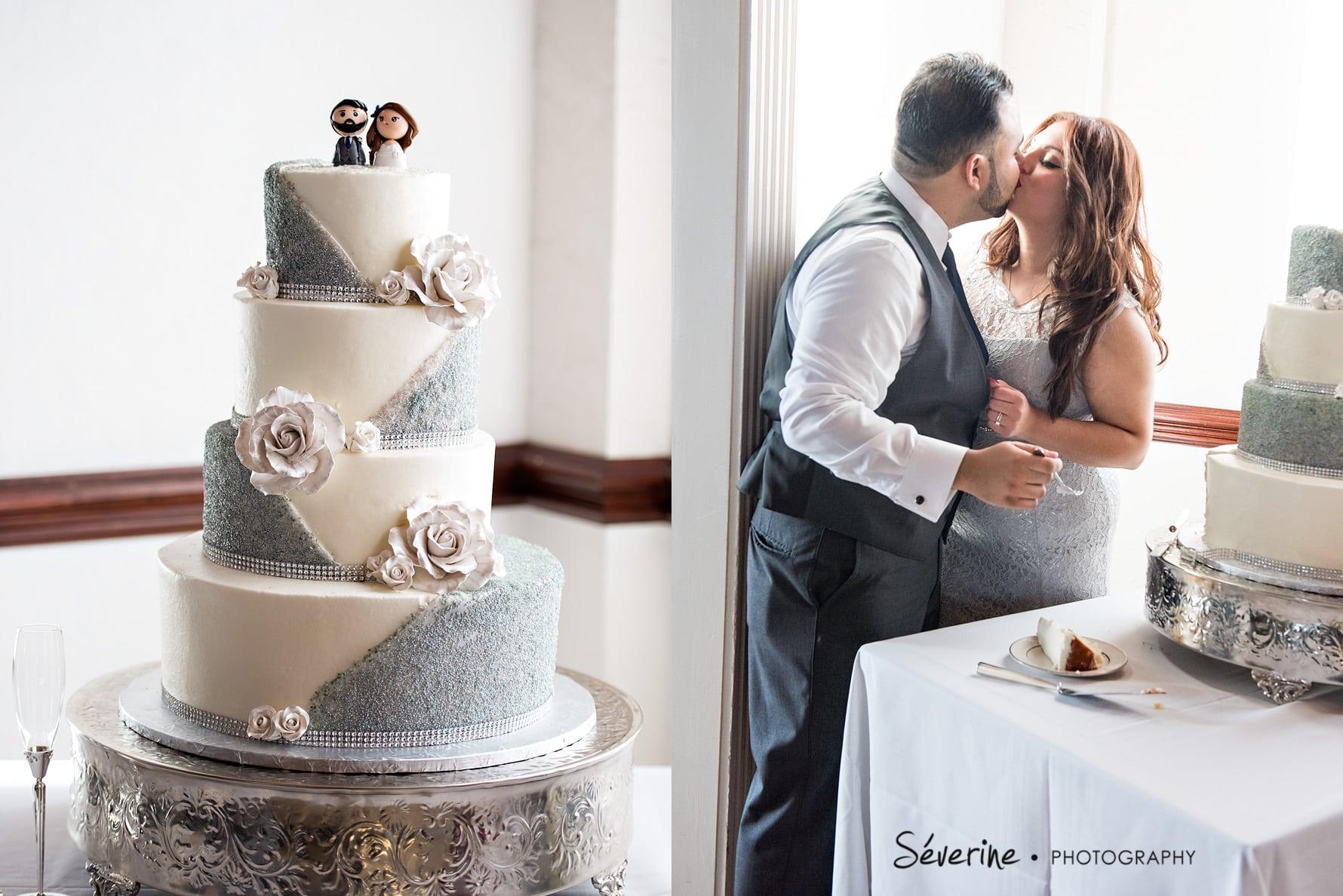 Grey And White Elegant Wedding Cake Severine Photography